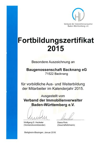 Fortbildungszertifikat 2015