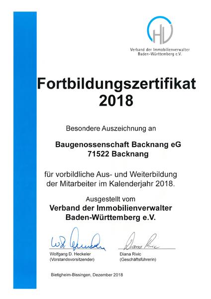 Fortbildungszertifikat 2018
